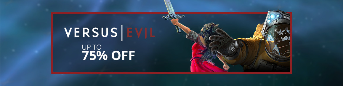 Versus Evil titles flat page header.
